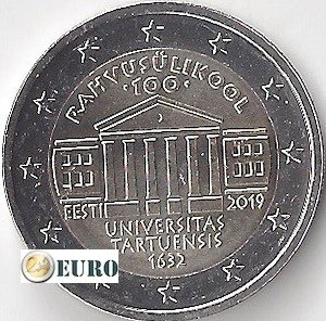 2 euros Estonie 2019 - Université de Tartu UNC