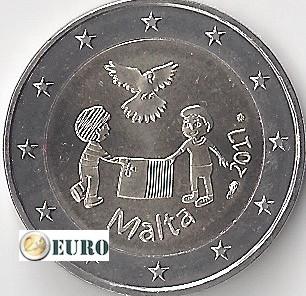 2 euros Malte 2017 - Paix UNC poinçon MdP
