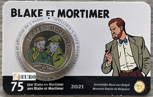 5 euros Belgique 2021 - Blake et Mortimer BU FDC Coincard Colorisé