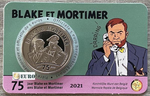 5 euros Belgique 2021 - Blake et Mortimer BU FDC Coincard en relief