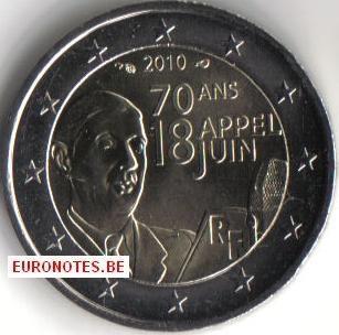 France 2010 - 2 euros Appel 18 juin UNC