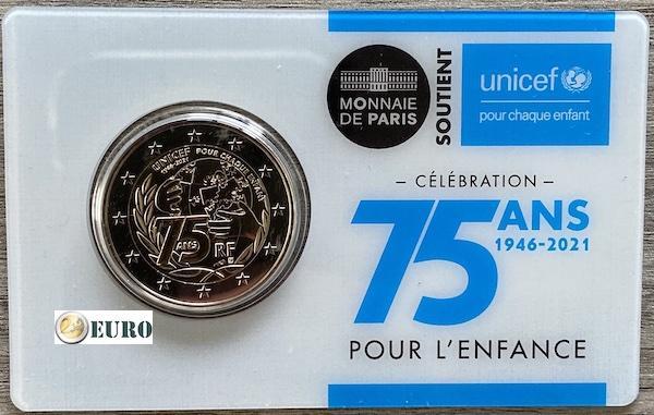 2 euros France 2021 - 75 ans UNICEF BU FDC Coincard