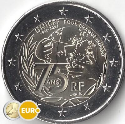2 euros France 2021 - 75 ans UNICEF UNC