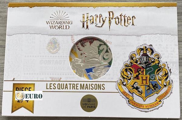 50 euros France 2021 - Harry Potter 4 Maisons de Poudlard BE Proof Argent colorisé