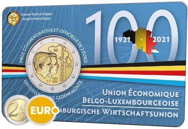 2 euros Belgique 2021 - 100 ans UEBL BU FDC Coincard FR