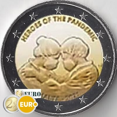 2 euros Malte 2021 - Héros de la pandémie BU FDC Coincard poinçon MdP