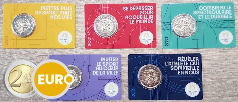 5 x 2 euros France 2021 - Remise drapeau olympique BU FDC Coincard